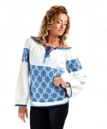 IE tricotata cu model albastru Onibon