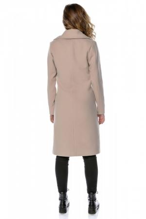 Palton dama din stofa roz pudra cu broderie PF28
