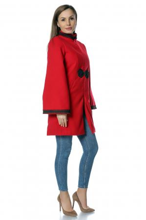 Palton rosu dama din stofa cu broderie traditionala PF33