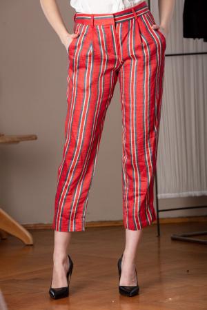 Pantaloni capri rosii din in cu imprimeu in dungi Marassi