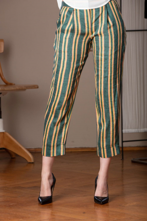 Pantaloni capri verzi din in cu imprimeu in dungi Marassi