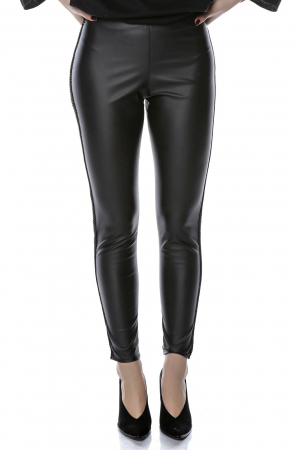 Pantaloni din piele ecologica cu insertii laterale P16, L