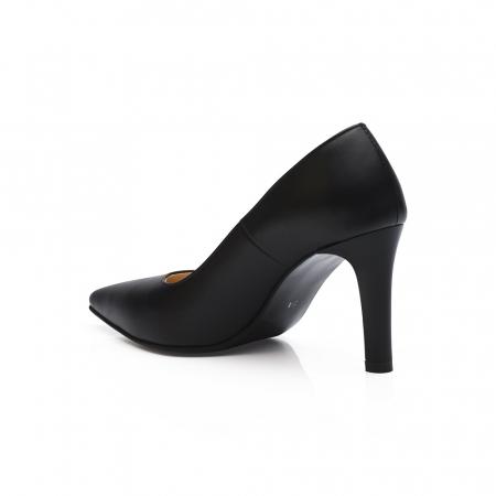 Pantofi stiletto negri cu toc mediu din piele naturala