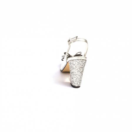 Pantofi dama cu toc glitter Silver Bow din piele naturala