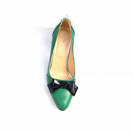 Pantofi dama cu toc gros Green Bow din piele naturala