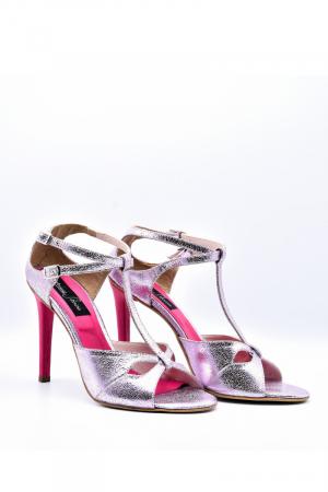 Pantofi dama stiletto din piele naturala Pink Sparkle