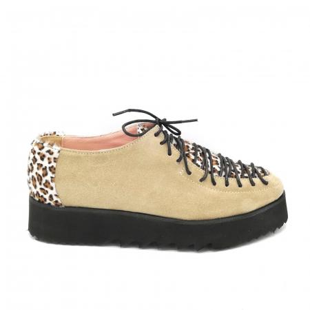 Pantofi dama tip Oxford Beige Velvet Pony Laces