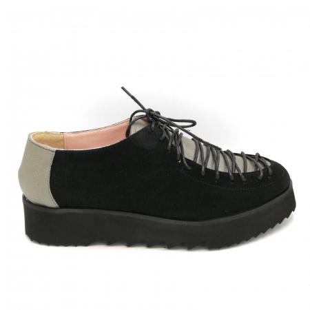 Pantofi dama tip Oxford Black Grey Laces