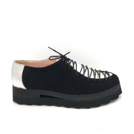 Pantofi dama tip Oxford Black Silver Laces