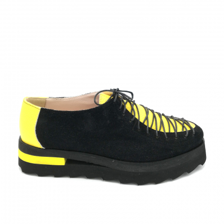 Pantofi dama tip Oxford Black Yellow Laces