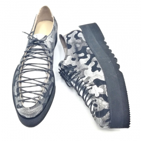 Pantofi dama tip Oxford Silver Pattern Laces
