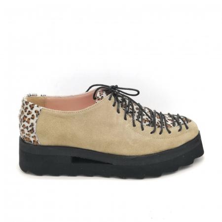 Pantofi dama tip Oxford Pony Beige Laces