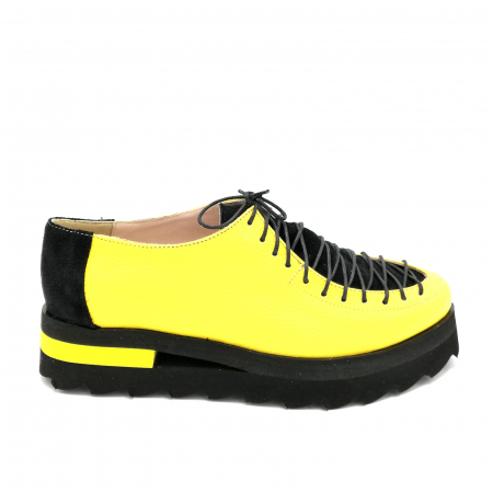 Pantofi dama tip Oxford Yellow Black Laces
