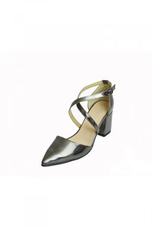 Pantofi din piele naturala cu toc gros Shiny Silver