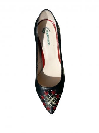 Pantofi din piele naturala Romanian Motifs Black
