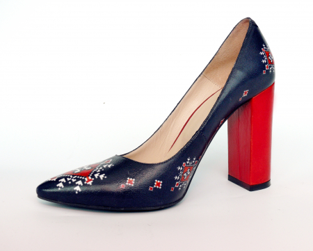 Pantofi din piele naturala Romanian Motifs Navy