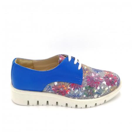 Pantofi dama din piele cu talpa joasa Flowers Blue