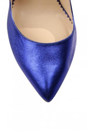 Pantofi Mihai Albu din piele metalizata Blue Stealth