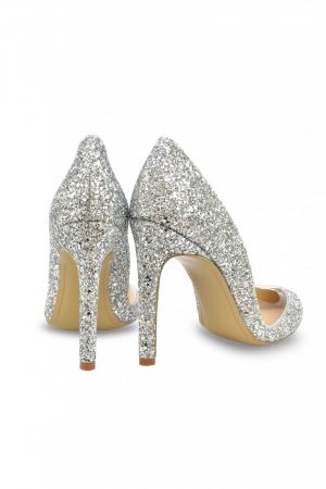 Pantofi Mihai Albu Silver Glitter Pumps