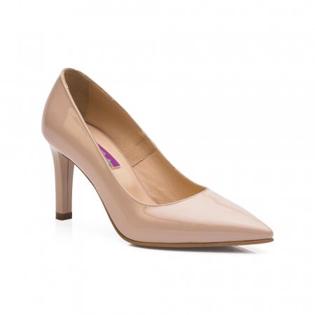 Pantofi stiletto nude cu toc mediu din piele naturala lacuita