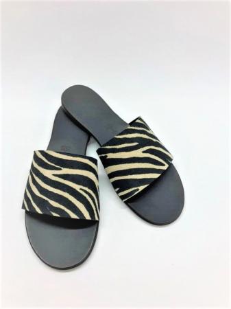 Papuci de dama din piele Elisa Zebra