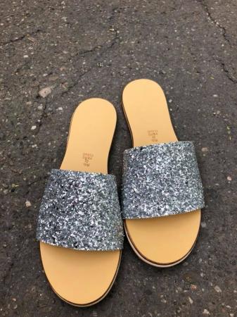 Papuci de dama din piele Elisa Glitter