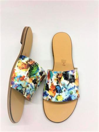 Papuci de dama din piele Elisa Painted Flowers