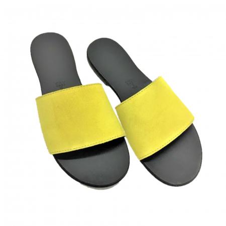 Papuci de dama din piele Elisa Yellow
