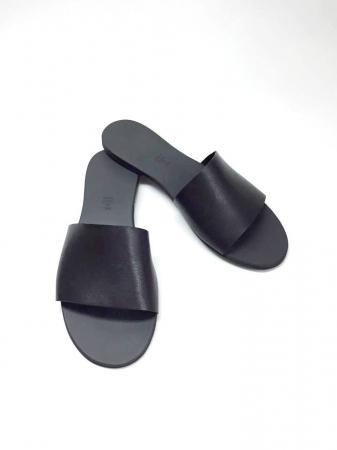 Papuci de dama din piele Black Elisa
