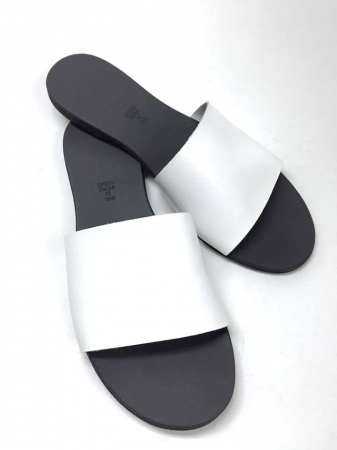Papuci de dama din piele White Elisa