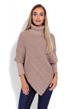 Poncho dama tricotat cu maneci lungi Capuccino
