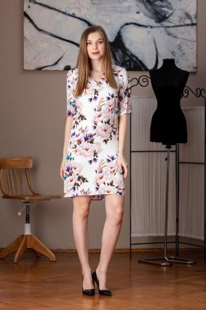 Rochie casual dreapta cu imprimeu floral Sole