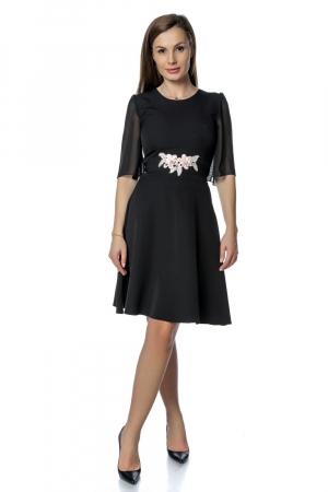 Rochie eleganta neagra cu flori aplicate pe talie RO277