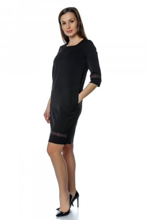 Rochie casual neagra cu broderie motive traditionale RO269
