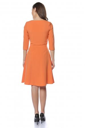 Rochie dama casual cloche orange cu margele multicolore la gat RO221
