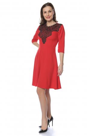 Rochie dama casual cloche rosie cu dantela aplicata RO218
