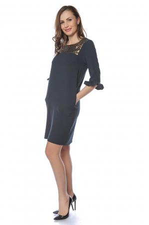 Rochie dama eleganta bleumarin cu aplicatie bronz la gat RO229