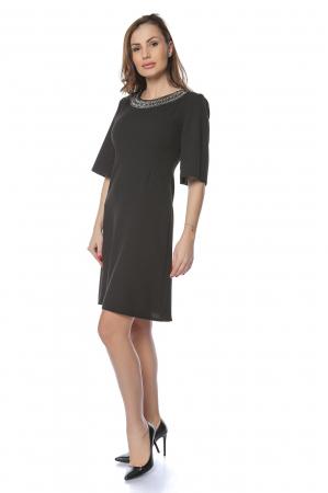 Rochie dama eleganta neagra cu aplicatie multicolora la gat RO226