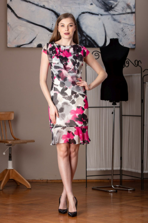 Rochie de zi din voal multicolor Maina