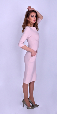 Rochie eleganta midi cu maneci trei sferturi Powder Pink