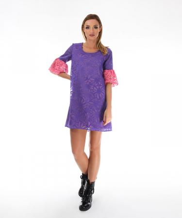 Rochie eleganta violet cu model floral