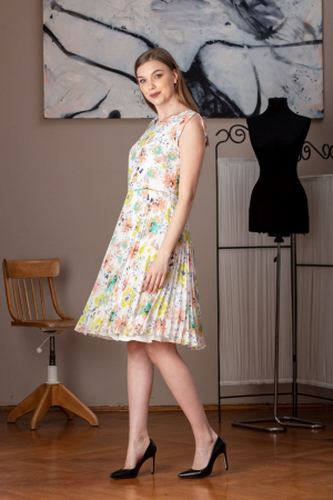 Rochie de zi plisata din voal cu print floral Diana
