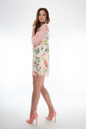 Rochie scurta cu imprimeu floral si guler cu funda