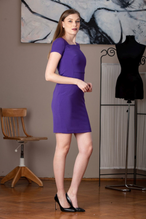 Rochie office dreapta mov Anabel