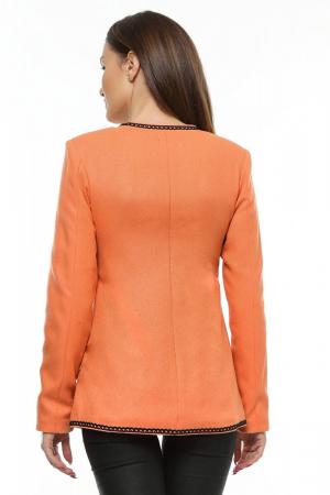 Sacou dama portocaliu din stofa brodata SC05