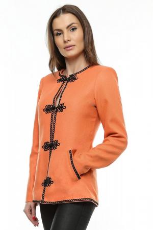 Sacou dama portocaliu din stofa brodata SC05, XL