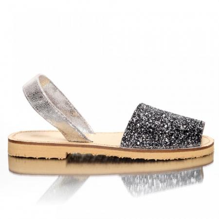 Sandale dama tip Avarca Glitter Argintiu