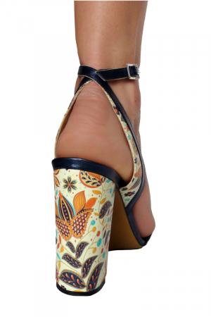 Sandale din piele naturala Nude Floral print