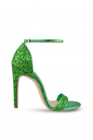 Sandale Mihai Albu din piele Emerald Green Glitter