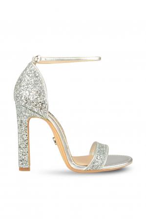 Sandale Mihai Albu din piele High Silver Glitter
